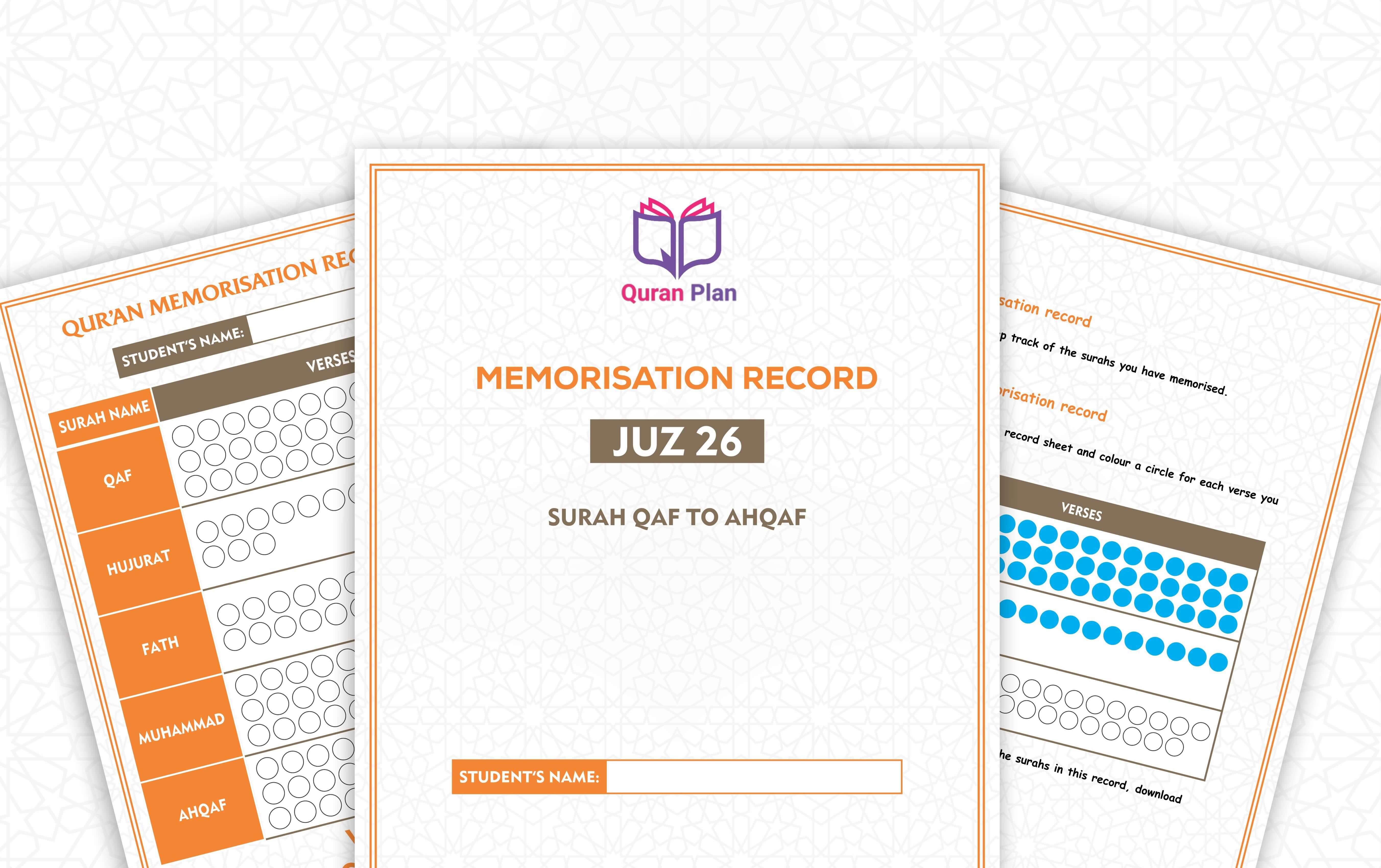 Juz 26 Hifdh Progress Chart